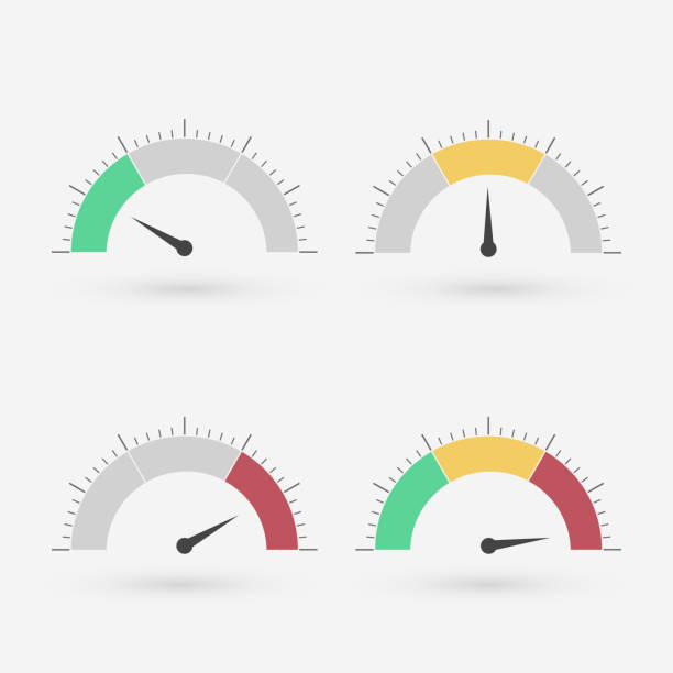 Gauge set Gauge set with scale and green yellow and red part meter instrument of measurement stock illustrations