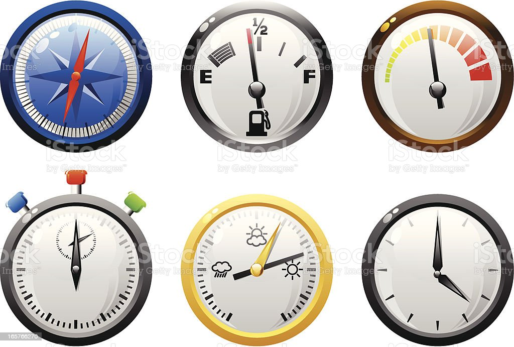 Gauges icons- shiny series royalty-free stock vector art