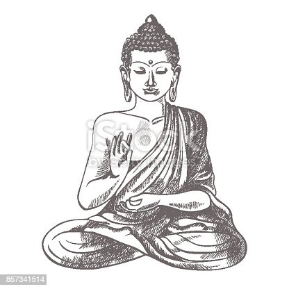 istock Gautama buddha with raised right hand on vector illustration 857341514