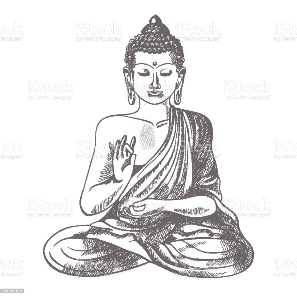 Gautama buddha with raised right hand on vector illustration vector art illustration