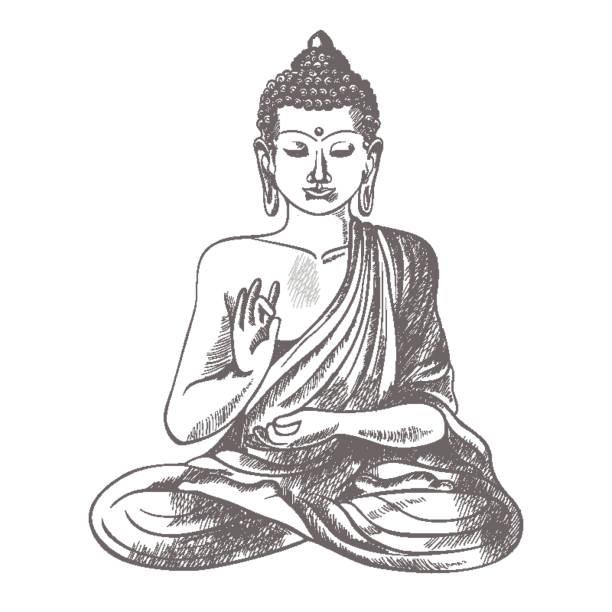 stockillustraties, clipart, cartoons en iconen met gautama boeddha met opgeheven rechterhand op vectorillustratie - buddha