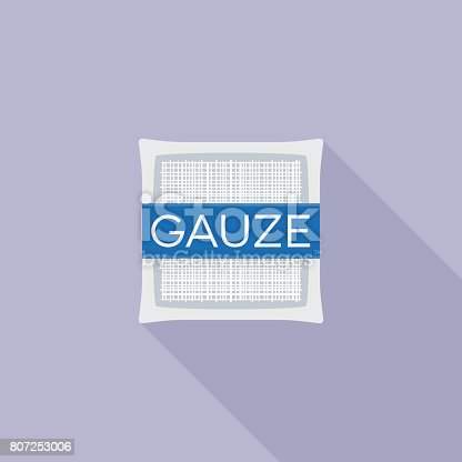 Gauze pad for first aid icon, flat design vector with long shadow