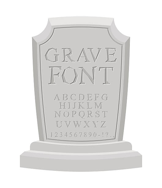 gave font. ancient carved on tombstone of abc. tomb alphabet. - tombstone stock illustrations