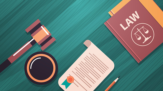 gavel and judge book on wooden table legal law advice and justice concept