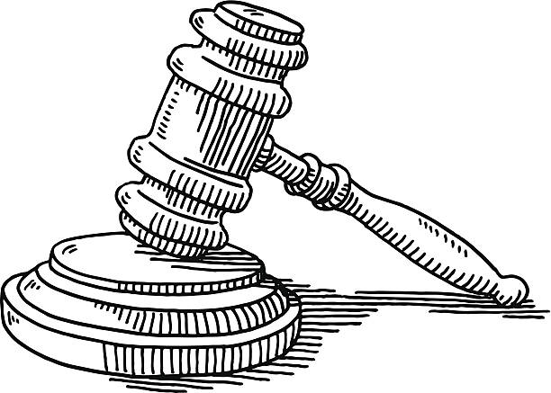 Gavel And Soundblock Justice Drawing Hand-drawn vector drawing of a Gavel And Soundblock, Justice Concept. Black-and-White sketch on a transparent background (.eps-file). Included files are EPS (v10) and Hi-Res JPG. gavel stock illustrations
