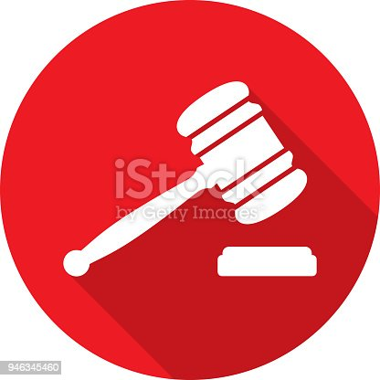 Vector illustration of a red gavel hitting a block icon in flat style.