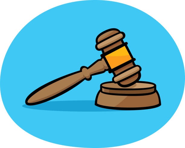 Gavel Doodle Vector illustration of a hand drawn gavel and block against a blue background. supreme court stock illustrations