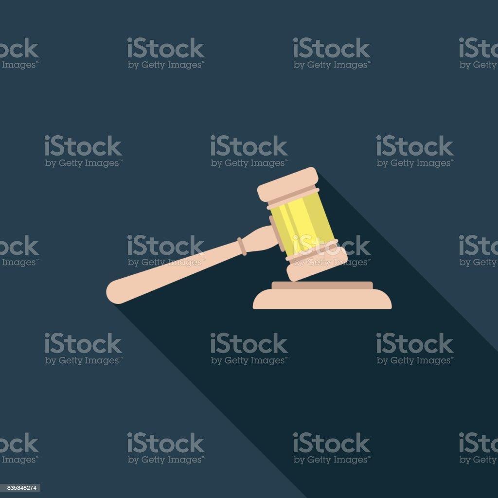 Gavel Flat Icon vector art illustration