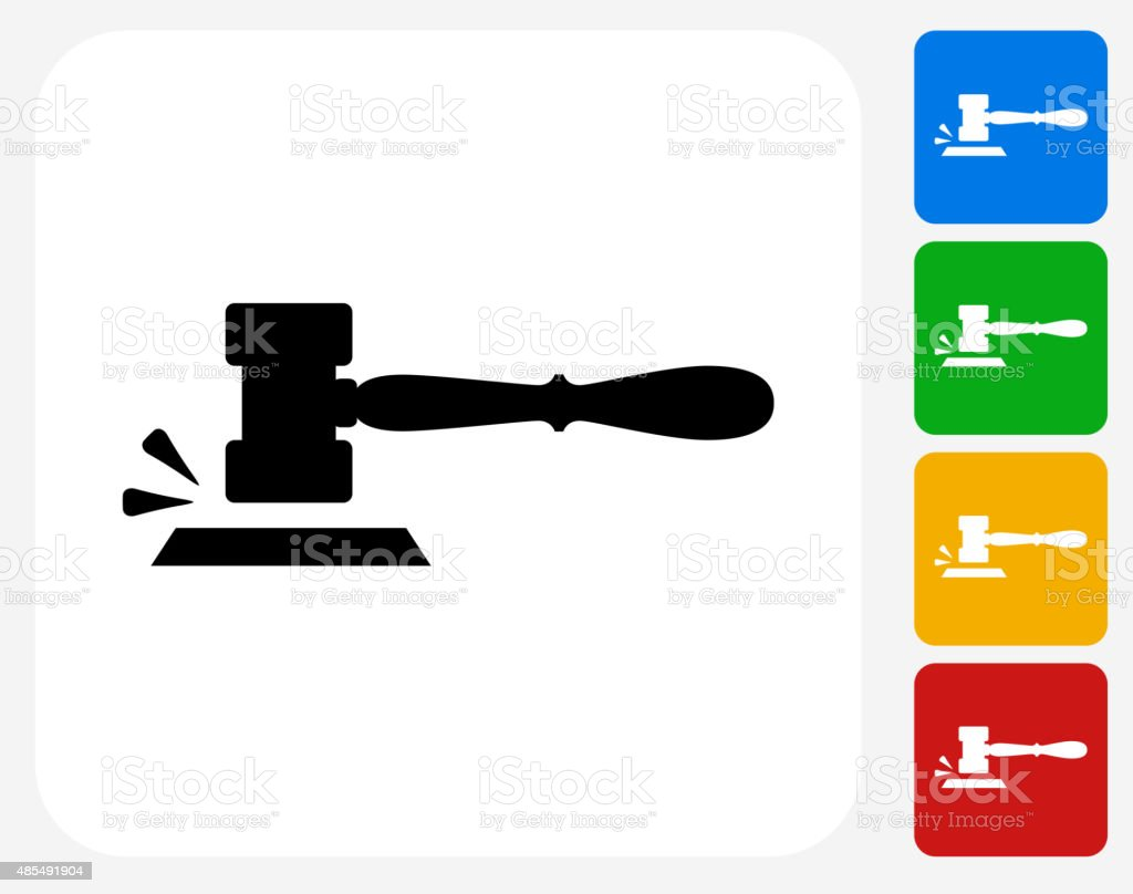 Gavel Icon Flat Graphic Design vector art illustration