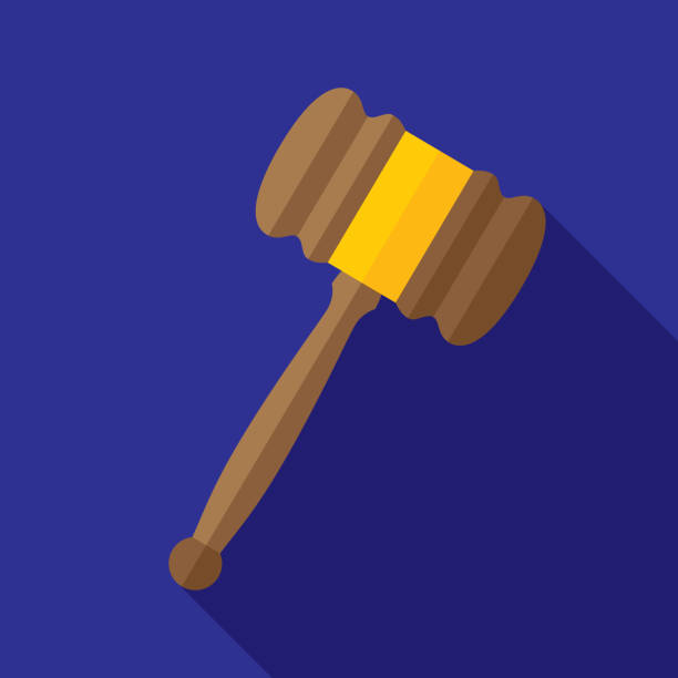 Gavel Icon Flat Vector illustration of a gavel against a blue background in flat style. supreme court stock illustrations
