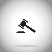 Gavel icon Judge hammer symbol auction