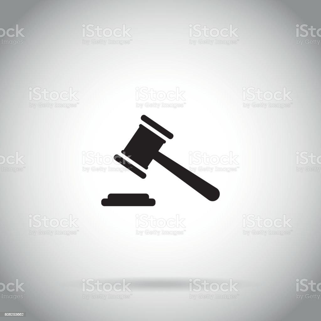 Gavel icon Judge hammer symbol auction vector art illustration