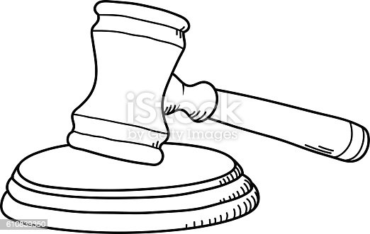 Gavel Law Hammer Stock Vector Art & More Images of Court