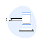 Gavel Related Line Icon set. Outline Symbol Icons