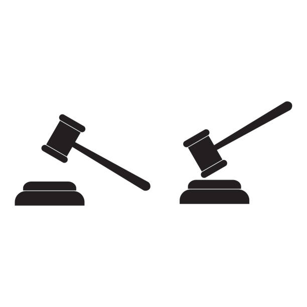 Gavel vector icon Gavel vector icon judge law stock illustrations