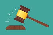 Legal or auction gavel flat design illustration concept.