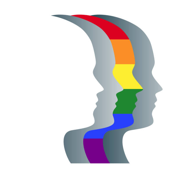 Gay and gray face silhouettes in a row vector art illustration