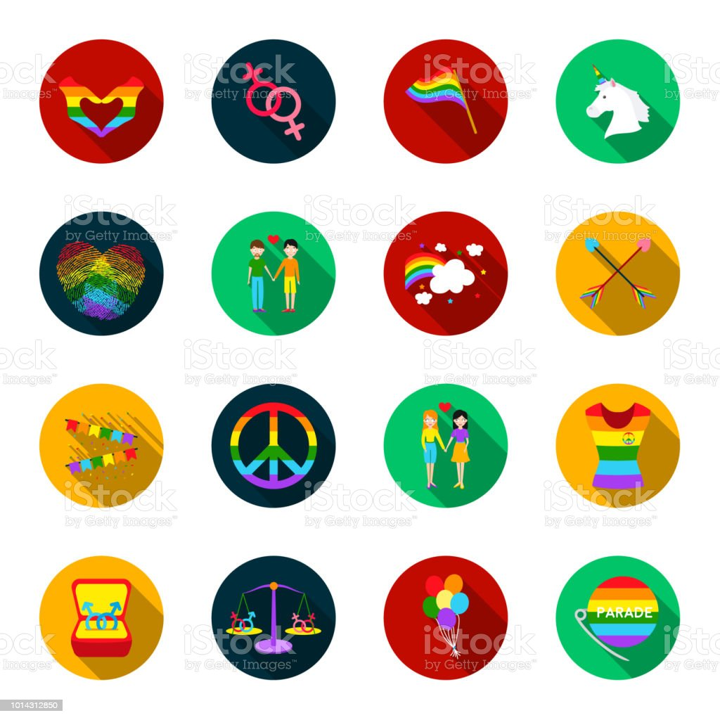 Gay and lesbian flat icons in set collection for design.Sexual minority and attributes vector symbol stock web illustration. vector art illustration
