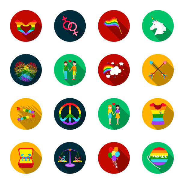 gay and lesbian flat icons in set collection for design.sexual minority and attributes vector symbol stock web illustration. - minority stock illustrations, clip art, cartoons, & icons