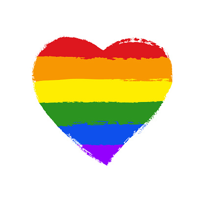 LGBT, gay and lesbian pride greeting card, poster with spectrum hand drawn rainbow heart and arrow on Valentine's Day. Vector design elements with hand lettering isolated on white background.
