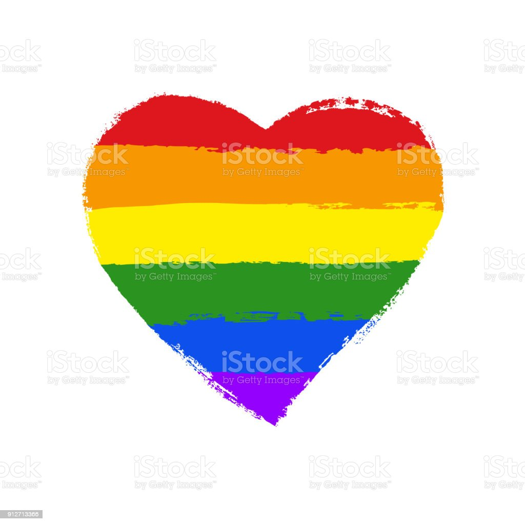 LGBT, gay and lesbian pride greeting card, poster with spectrum hand drawn rainbow heart and arrow on Valentine's Day. Vector design elements with hand lettering isolated on white background. vector art illustration