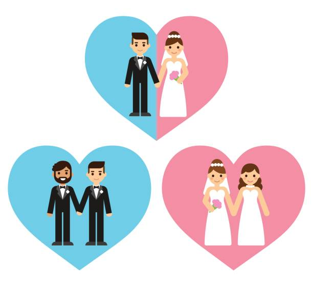 illustrazioni stock, clip art, cartoni animati e icone di tendenza di gay and straight wedding couples - coppia gay