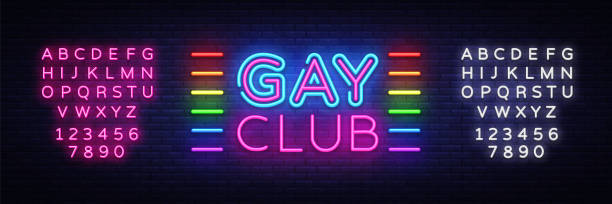 Gay club neon sign vector. Gay Club design template neon sign, light banner, neon signboard, nightly bright advertising, light inscription. Vector illustration. Editing text neon sign Gay club neon sign vector. Gay Club design template neon sign, light banner, neon signboard, nightly bright advertising, light inscription. Vector illustration. Editing text neon sign. gay person stock illustrations