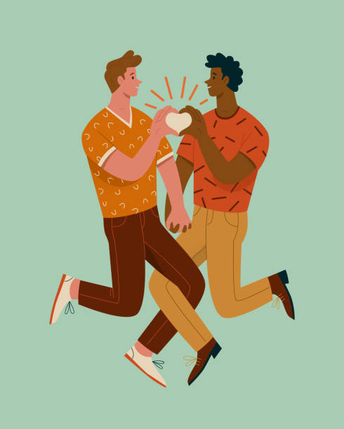 Gay couple concept. Vector illustration of two young men holding hands in trendy flat style. Isolated on light blue background african american valentine stock illustrations