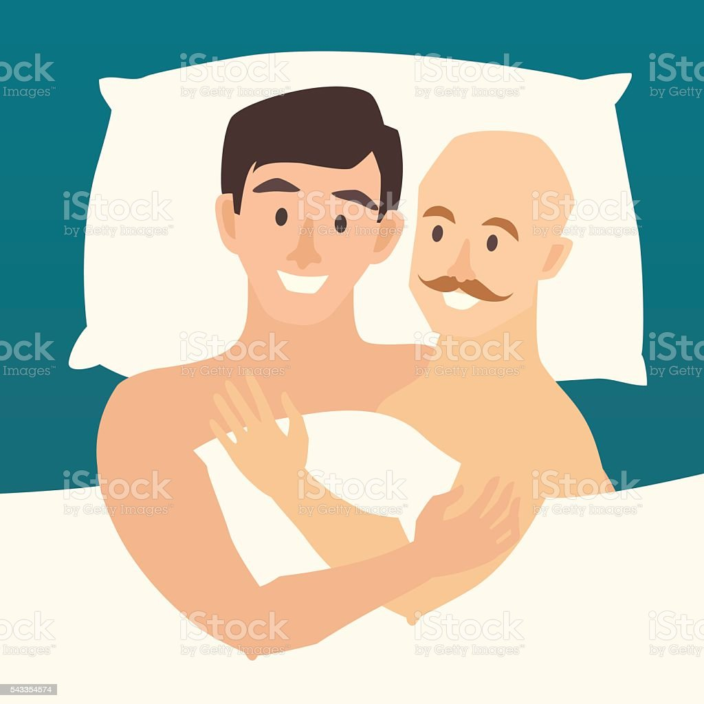 Gay couple in bed. Happy gay couple vector illustration. - ilustração de arte em vetor
