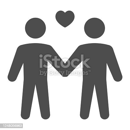 istock Gay couple solid icon, LGBT concept, Two men with heart sign on white background, homosexual couple icon in glyph style for mobile concept and web design. Vector graphics. 1248056963