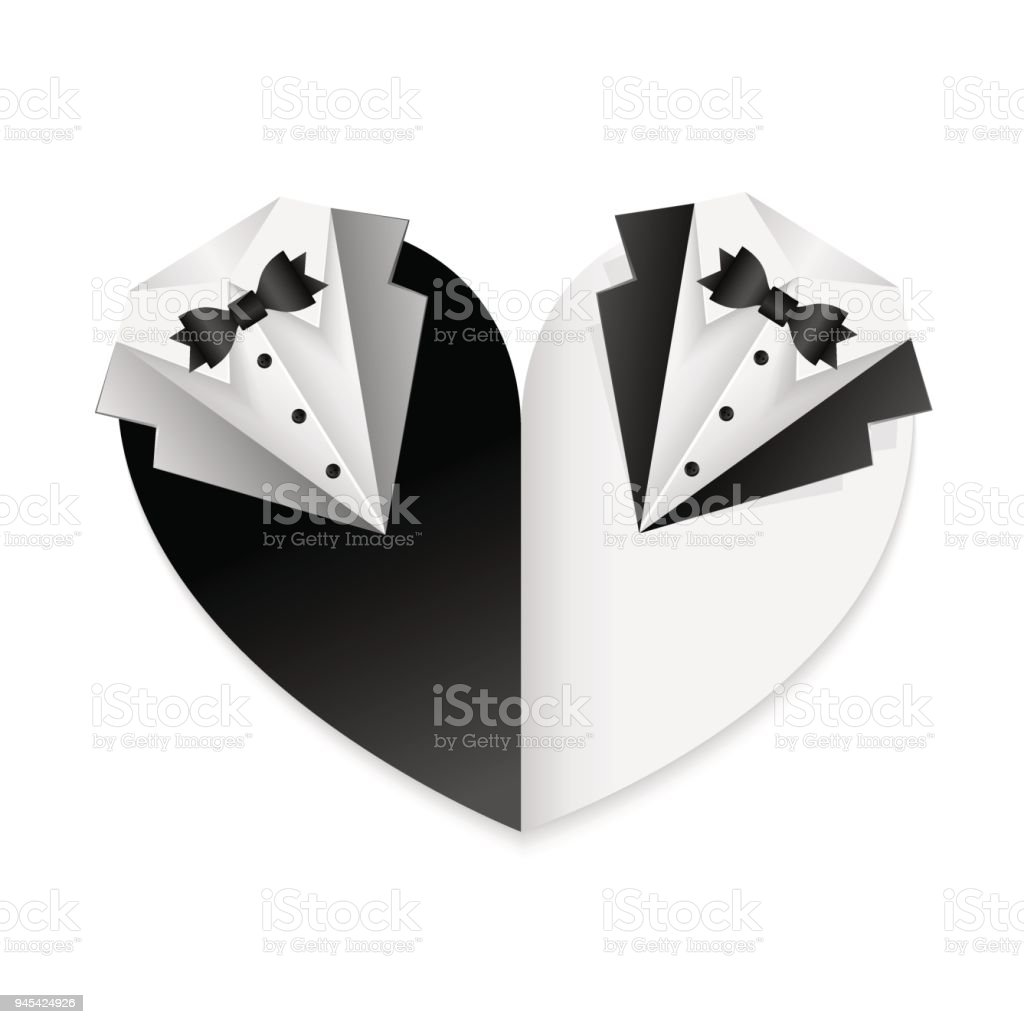 Gay couple wedding card poster - black and white combination - shape of heart vector art illustration