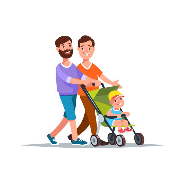 Gay couple with baby Vector illustration gay couple with baby in a stroller walk cartoon style. Concept gay family and relationship gay person stock illustrations