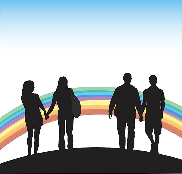 Gay Couples And Rainbow A vector silhouette illustration of homosexual couples holding hands in front of a rainbow. same sex couples stock illustrations