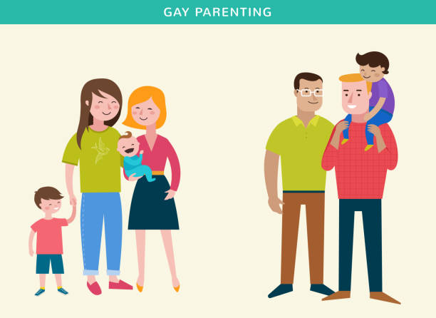Gay families, Happy family, making fun, couple with kids Gay families, Happy family, making fun, couple with kids, vector illustration same sex couples stock illustrations