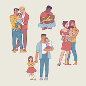 Gay family vector illustration set with happy men and women with their kids.