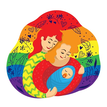 Gay female couple of two mothers embracing a newborn baby against the background of an LGBT flag. Vector illustration