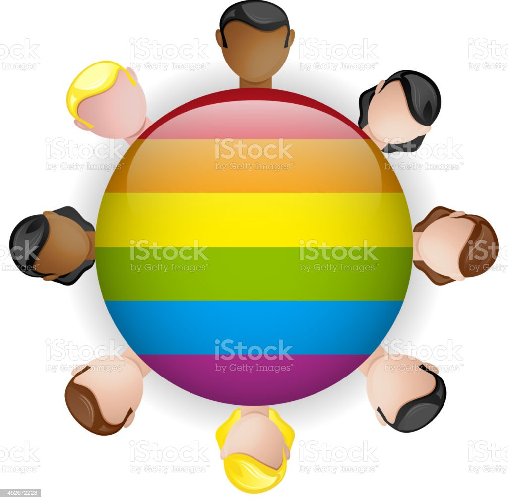 Gay Flag Group Crowd Icon LGBT royalty-free stock vector art