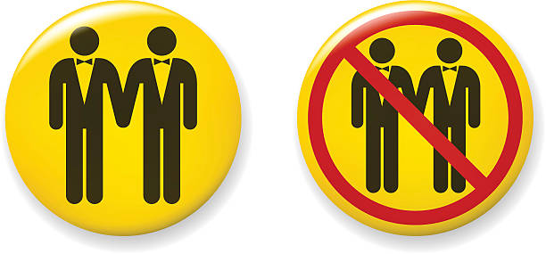 gay bräutigam pins - hochzeitsanstecker stock-grafiken, -clipart, -cartoons und -symbole