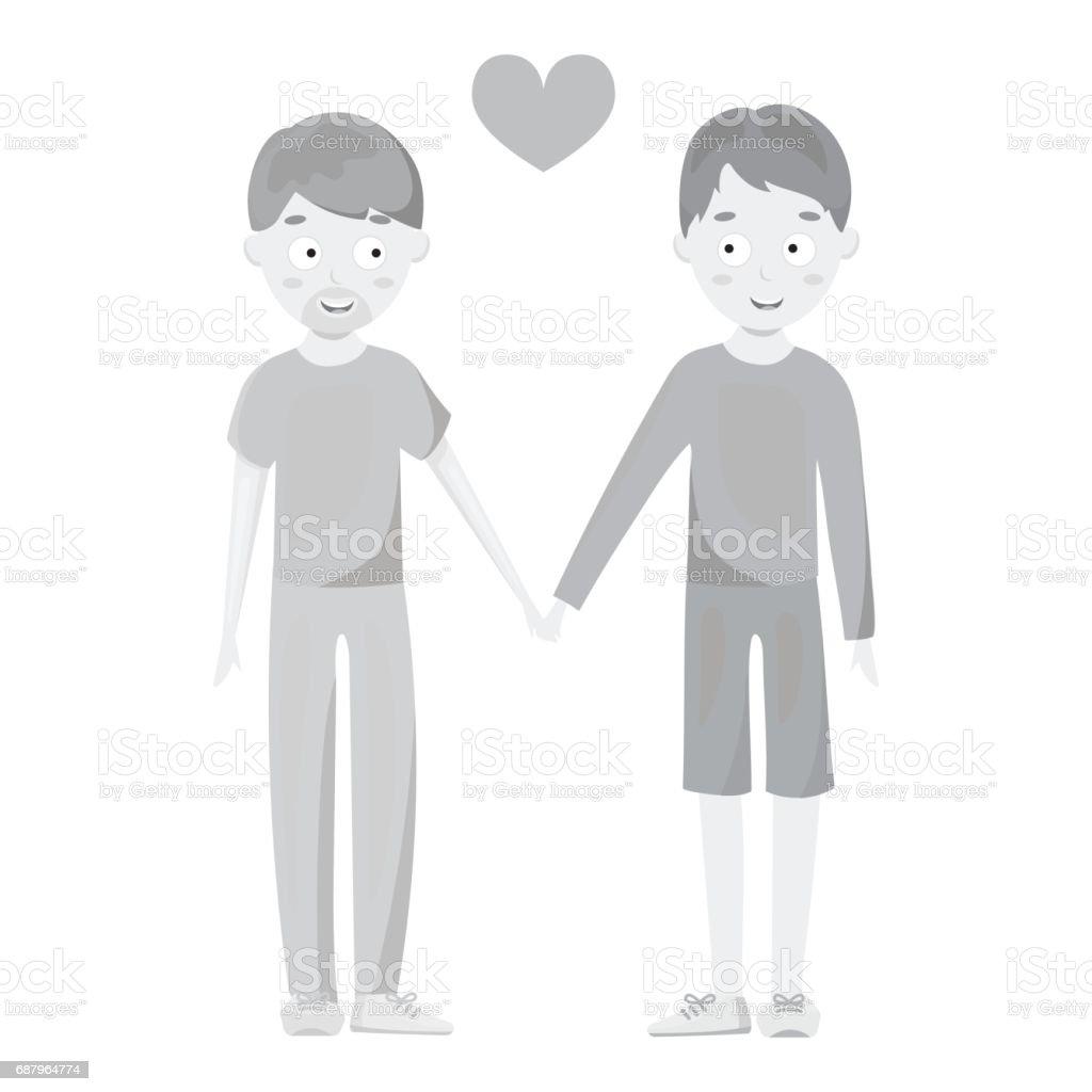 Gay icon monochrome. Single gay icon from the big minority, homosexual monochrome. vector art illustration