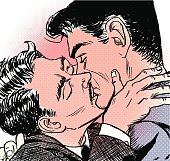 Two men in passionate kiss- retro 50's imagery. Everything is in layers for your convenience, so that you can change colours as you like. Hand drawn on A3 paper, scanned and traced in Illustrator. Version AI 8 .eps