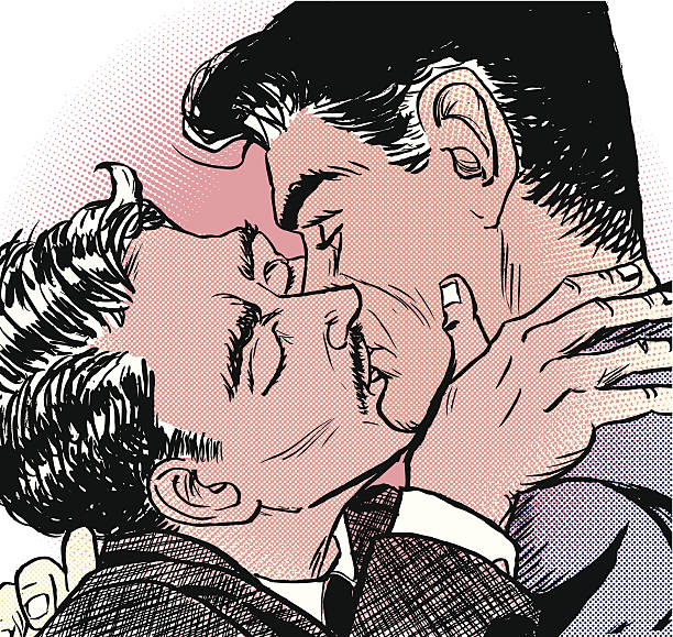 gay kiss - 20th century stock illustrations