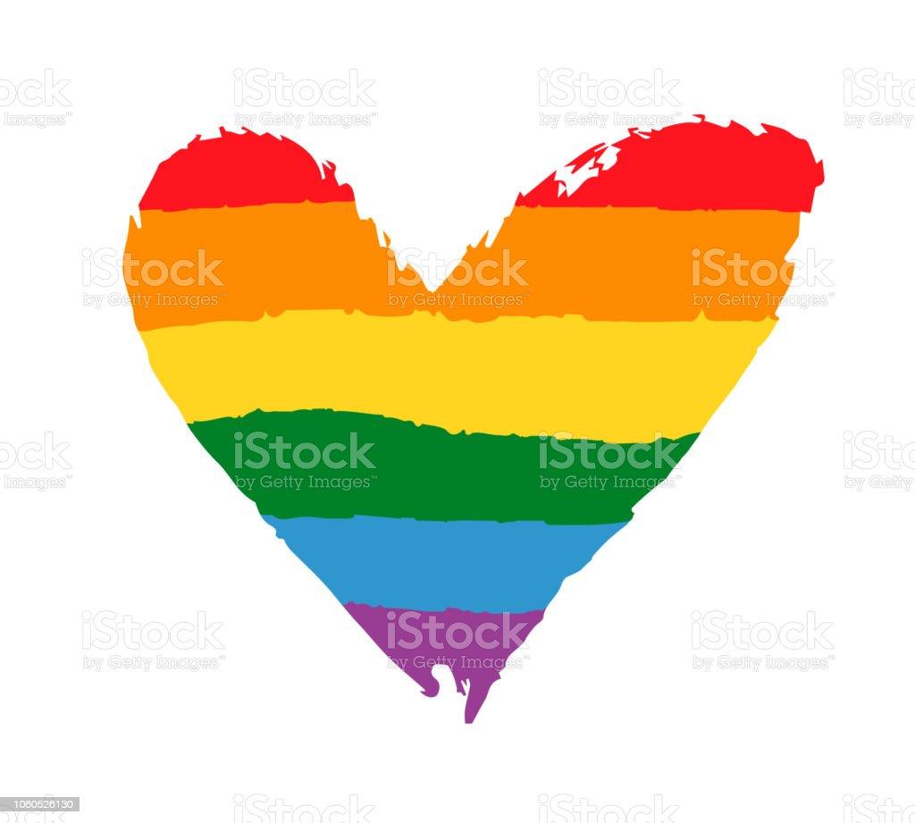 Gay, cartel de orgullo de comunidad lesbiana con corazón de bandera de arco iris. Concepto de derechos LGBT - ilustración de arte vectorial