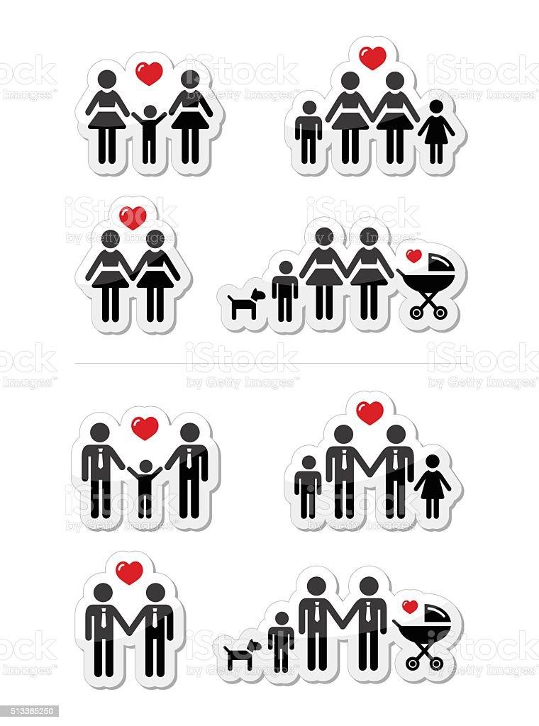Gay, lesbienne les couples et les familles avec des enfants icônes ensemble - Illustration vectorielle