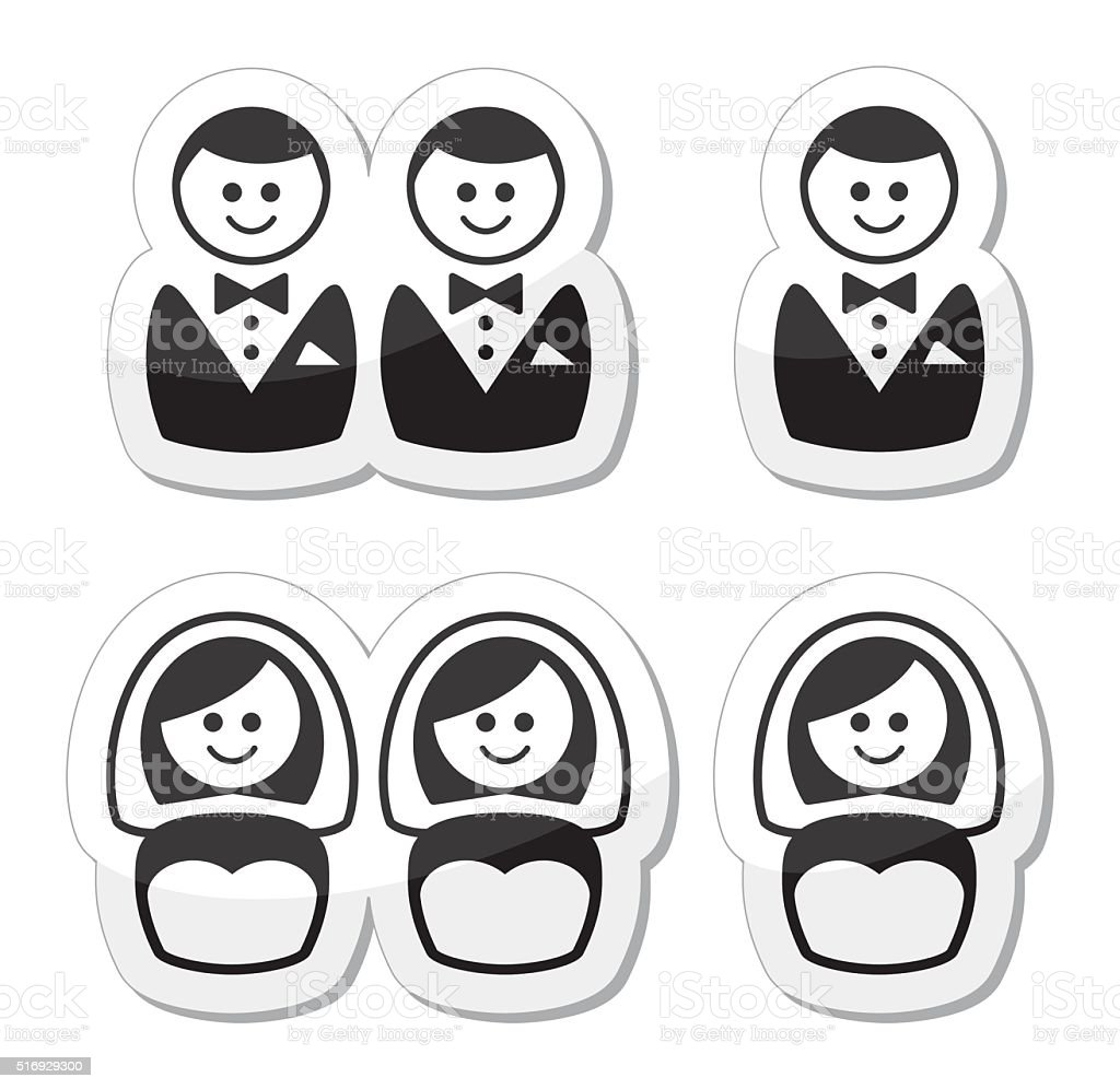Gay / lesbian marriage  icons set vector art illustration