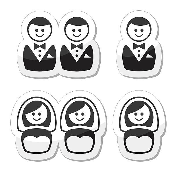 gay / lesbian marriage  icons set - same sex couples stock illustrations, clip art, cartoons, & icons