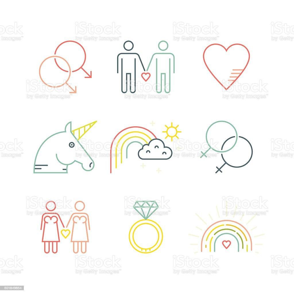Gay & lesbianas - ilustración de arte vectorial
