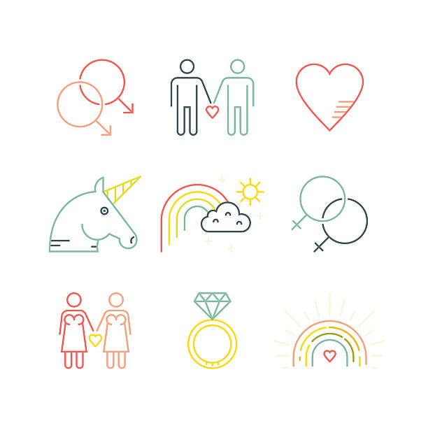 illustrazioni stock, clip art, cartoni animati e icone di tendenza di & gay e lesbiche - coppia gay