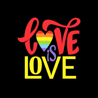 Gay Lettering. Conceptual poster with LGBT rainbow hand lettering. Colorful glitter handwritten phrase Love is Love isolated on black background. Vector typographic illustration for gay community support