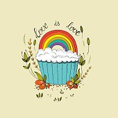 Gay lettering with cute cupcake design