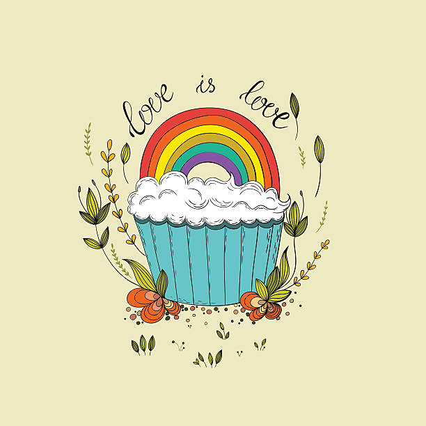 Gay lettering with cute cupcake design vector art illustration